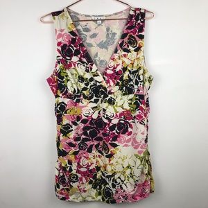 CAbi Rose Ruched Empire Waist Sleeveless Top L
